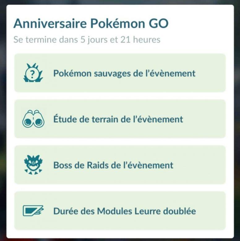 Bonus anniversaire 5 ans Pokémon Go